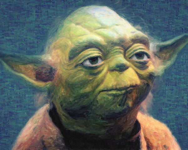Yoda Poster featuring the painting Yoda by Zapista OU