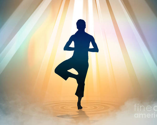 Yoga Poster featuring the digital art Yoga Balance by Bedros Awak