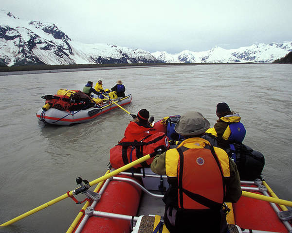 Achieve Poster featuring the photograph Young Adults Rafting On Alsek River by Henry Georgi