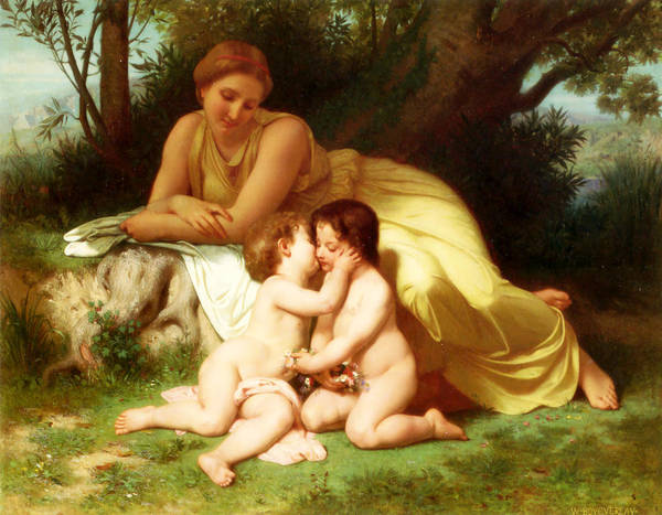 Young Woman Contemplating Two Embracing Children Poster featuring the painting Young Woman Contemplating Two Embracing Children by William-Adolphe Bouguereau