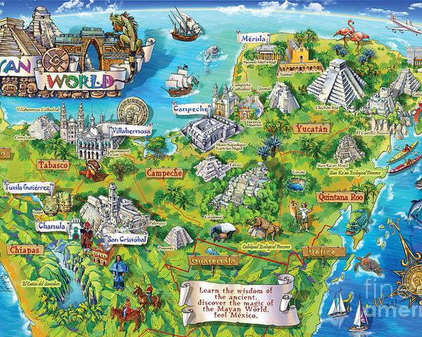 Yucatan Map Illustration Poster