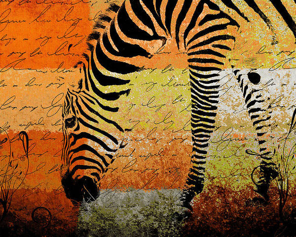 Zebra Poster featuring the digital art Zebra Art - Rng02t01 by Variance Collections