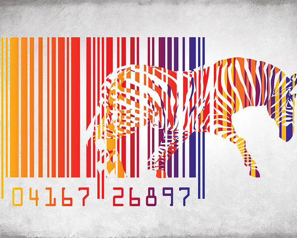Zebra Poster featuring the painting Zebra Barcode by Mark Ashkenazi