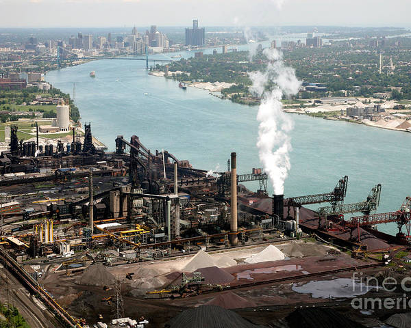 Ambassador Poster featuring the photograph Zug Island Industrial Area Of Detroit by Bill Cobb