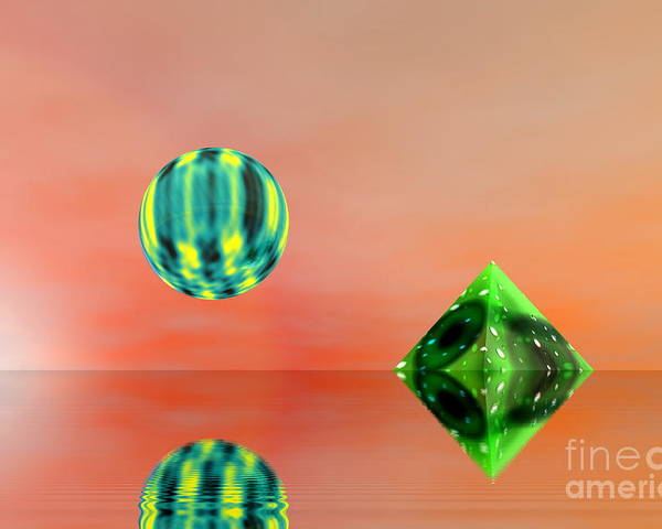 Nature Poster featuring the digital art Planet And Piramid by Odon Czintos