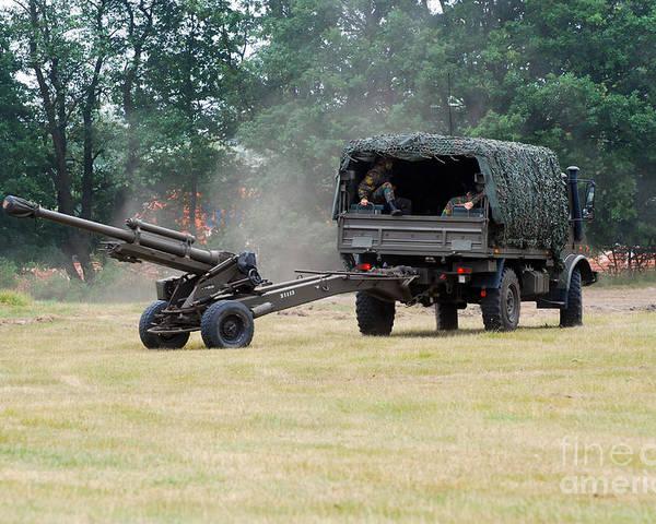 Lg1 Poster featuring the photograph A Belgian Artillery Unit Setting by Luc De Jaeger
