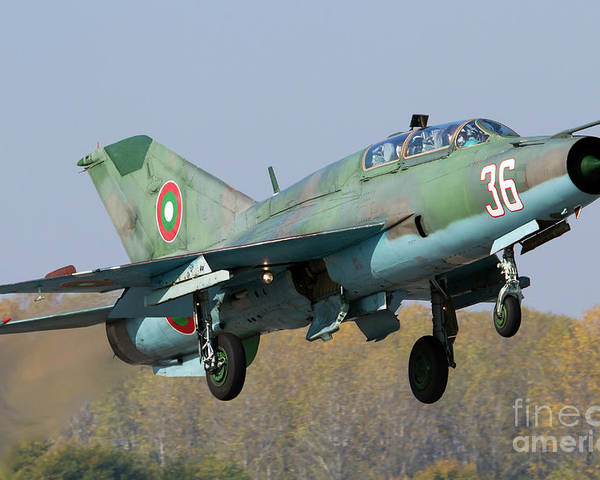 Bulgaria Poster featuring the photograph A Bulgarian Air Force Mig-21um Jet by Anton Balakchiev