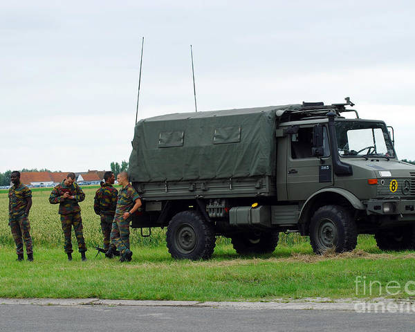 Belgium Poster featuring the photograph A Unimog Vehicle Of The Belgian Army by Luc De Jaeger