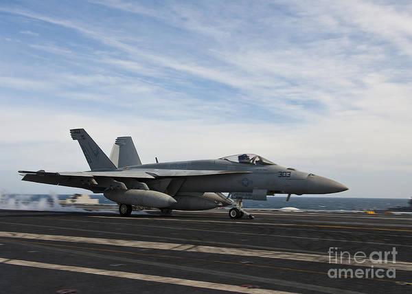 Side View Poster featuring the photograph An Fa-18f Super Hornet Takes by Stocktrek Images