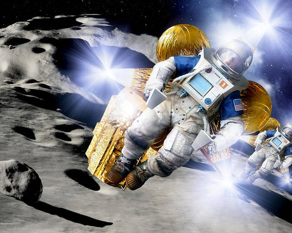 Rock Poster featuring the photograph Asteroid Deflection, Astronauts by Detlev Van Ravenswaay