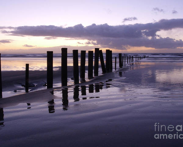 Beach Sunset Poster featuring the photograph Brean Beach Sunset by Urban Shooters