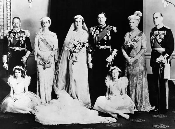 1930s Poster featuring the photograph British Royal Family. Seated, From Left by Everett