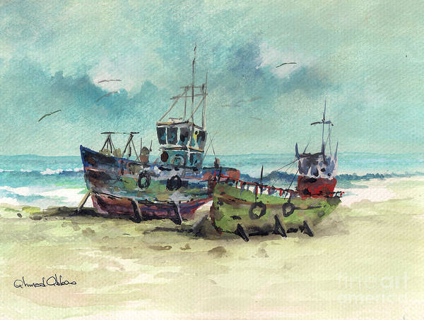 Seascape Paintings Poster featuring the painting Cale Seche 10 by Ahmed Abbas