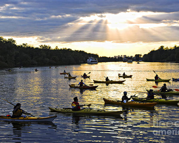 Active Poster featuring the photograph Canoeing by Elena Elisseeva