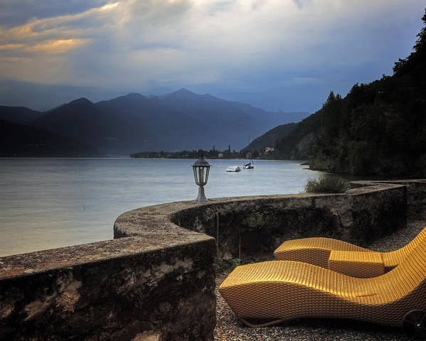 Lake Maggiore Poster featuring the photograph Canvas Chairs by Joana Kruse