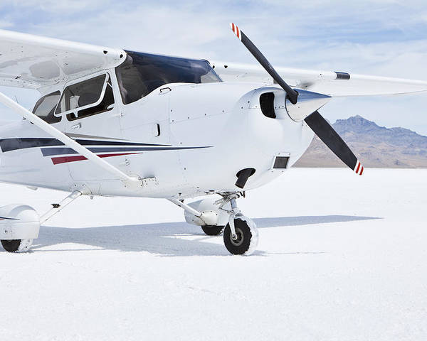 No People Poster featuring the photograph Cessna Aircraft On Bonneville Salt Flats by Paul Edmondson
