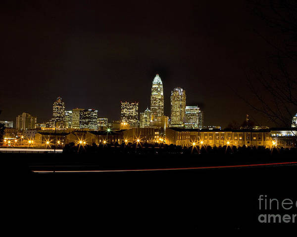 Center City Poster featuring the photograph Charlotte Skyline At Night by Patrick Schneider