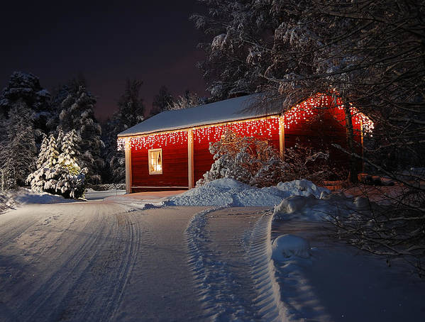 Christmas Poster featuring the photograph Christmas House by Roman Rodionov