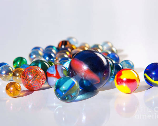 Abstract Poster featuring the photograph Colorful Marbles by Carlos Caetano