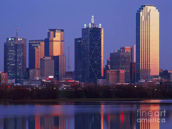 Architecture Poster featuring the photograph Dallas Skyline Reflected In Pond At Dusk by Jeremy Woodhouse