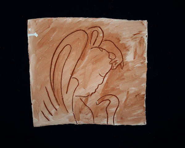 Jesus Poster featuring the ceramic art Divine Shepherd by Gloria Ssali