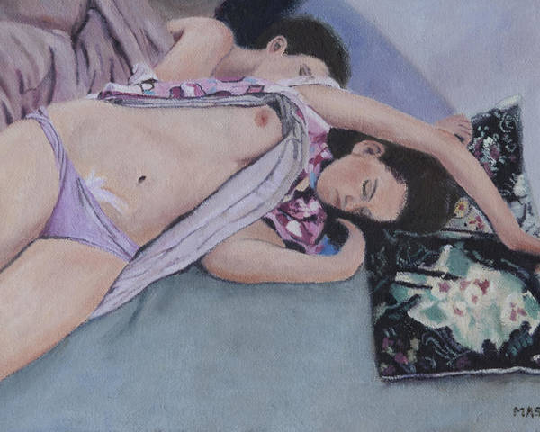 Nude Poster featuring the painting Dreaming by Masami Iida