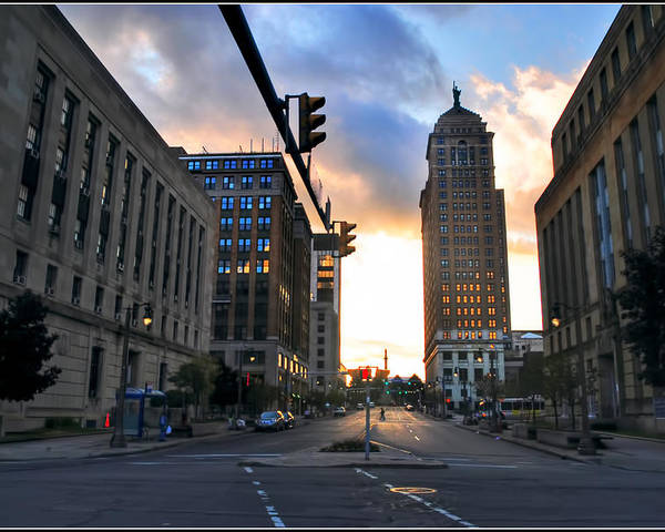 Poster featuring the photograph Early Morning Court Street by Michael Frank Jr