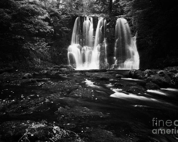 Ess-na-crub Poster featuring the photograph Ess-na-crub Waterfall On The Inver River In Glenariff Forest Park County Antrim Northern Ireland Uk by Joe Fox