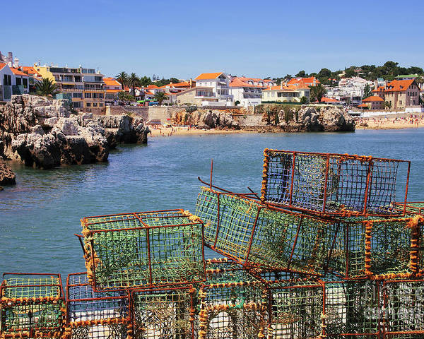 Anchored Poster featuring the photograph Fishing Traps by Carlos Caetano