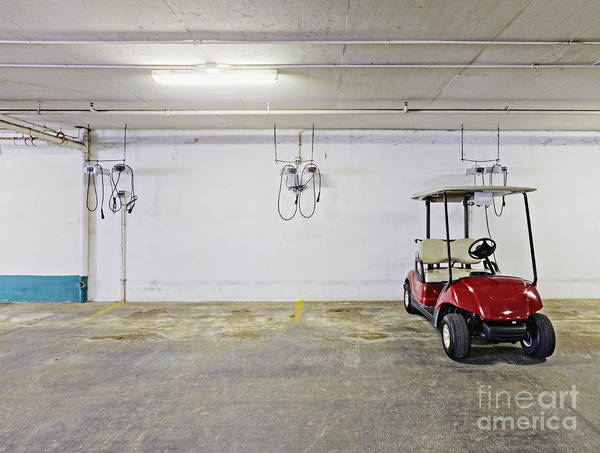 Basement Poster featuring the photograph Golf Cart Parking Garage by Skip Nall