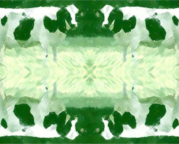 Green Poster featuring the digital art Green Cows by Mark Einhorn