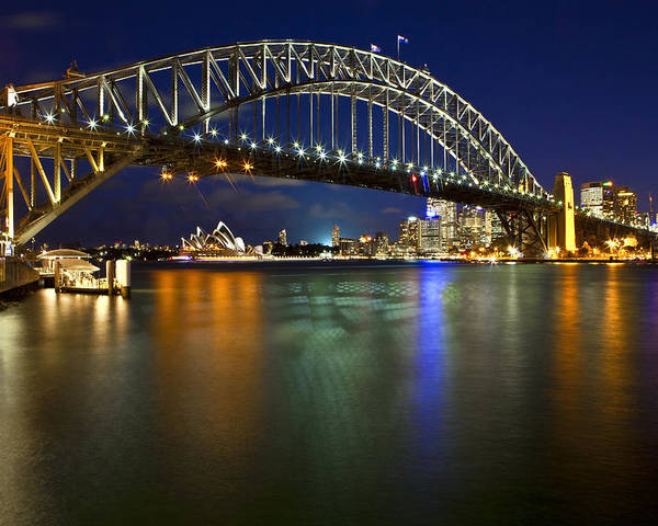 Sydney Harbour Bridge Poster featuring the photograph Harbour Lights by Renee Doyle