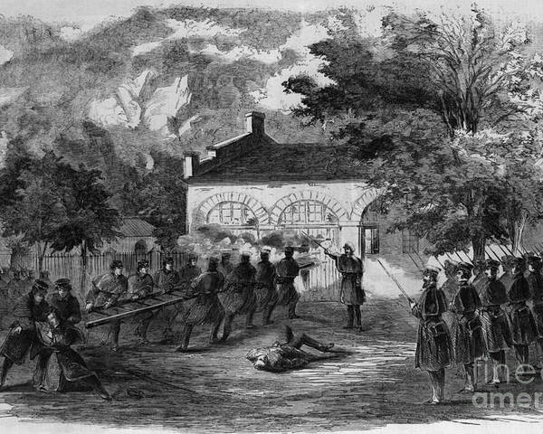 History Poster featuring the photograph Harpers Ferry Insurrection, 1859 by Photo Researchers