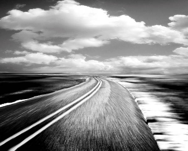 Black & White Poster featuring the photograph Highway Run by Scott Pellegrin