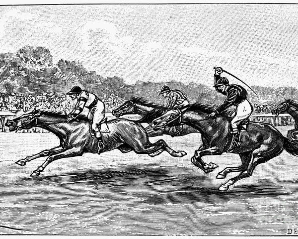 1900 Poster featuring the photograph Horse Racing, 1900 by Granger