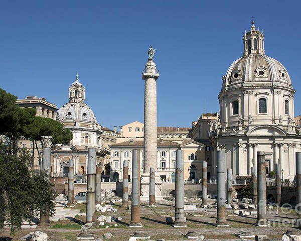 Worth Poster featuring the photograph Imperial Fora With The Trajan's Column And The Church Santissimo Nome Di Maria. Rome by Bernard Jaubert