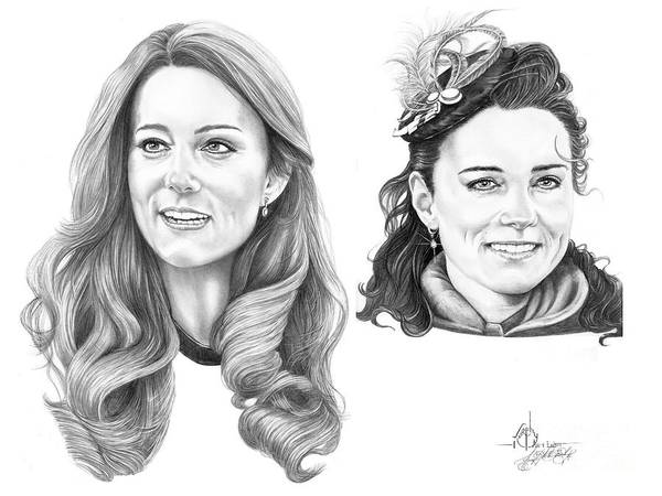 Kate Poster featuring the drawing Kate Middleton by Murphy Elliott