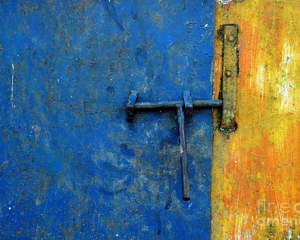Wall Poster featuring the photograph Latch The Door On The Faded Blue And Yellow Wall by Antoni Halim