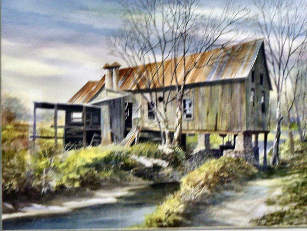 Grist Mill Poster featuring the painting Levy Deas Grist Mill Sold by Jack Bolin