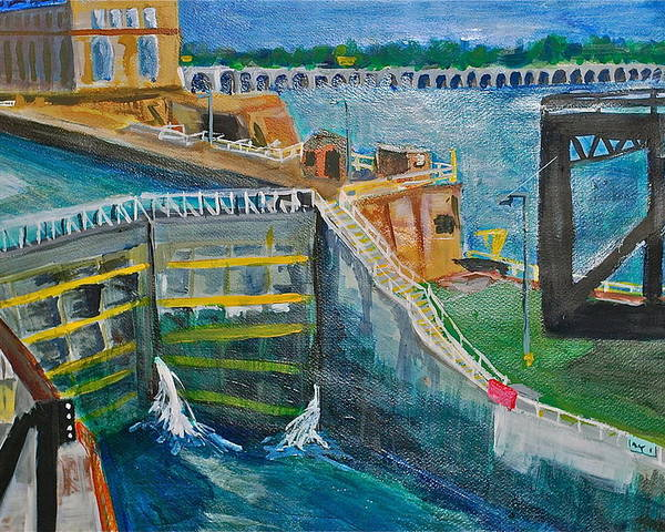 Dam Poster featuring the painting Lock And Dam 19 by Jame Hayes