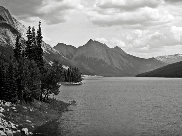 B&w Poster featuring the photograph Maligne Lake by RicardMN Photography