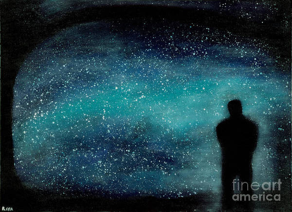 Stars Poster featuring the painting Meditation Under The Stars by NARI - Mother Earth Spirit