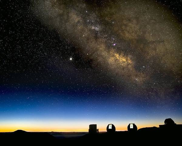 Milky Way Poster featuring the photograph Milky Way And Observatories, Hawaii by David Nunuk