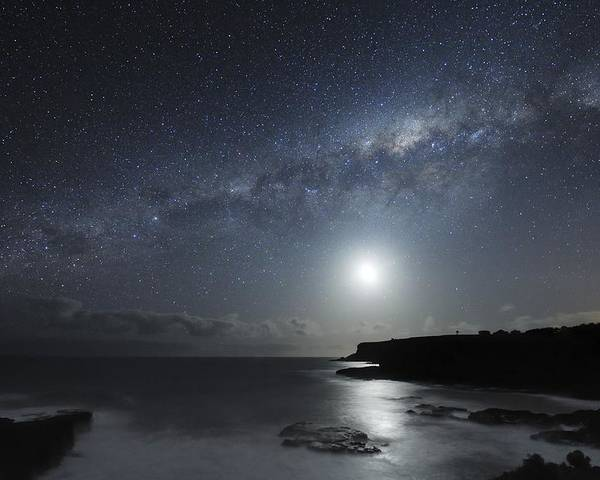 Milky Way Poster featuring the photograph Milky Way Over Mornington Peninsula by Alex Cherney, Terrastro.com