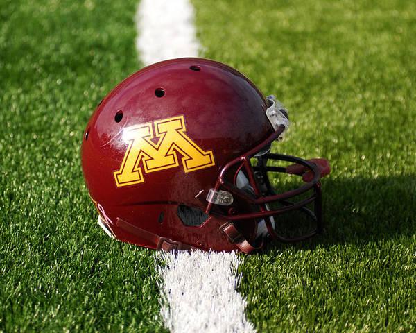 University Of Minnesota Poster featuring the photograph Minnesota Football Helmet by Bill Krogmeier