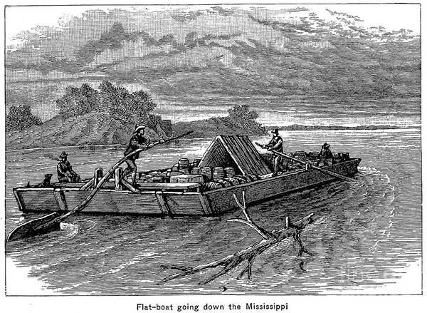 19th Century Poster featuring the photograph Mississippi: Flatboat by Granger