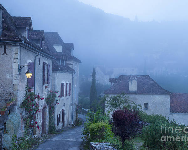 Arch Poster featuring the photograph Misty Dawn In Saint Cirq Lapopie by Brian Jannsen
