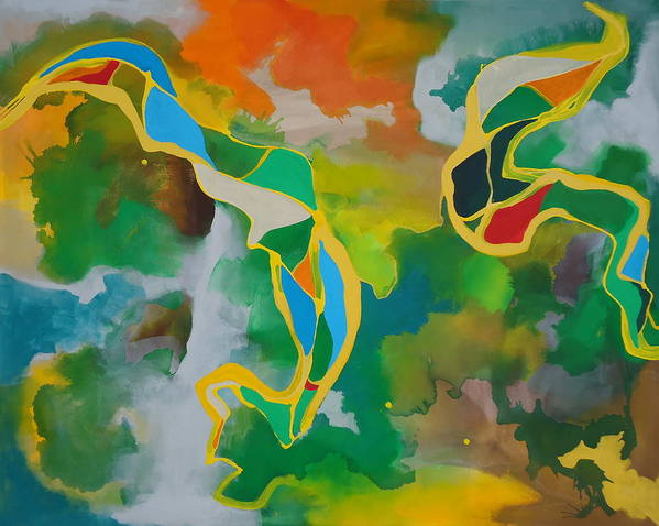 Abstract Poster featuring the painting Natives by Nick Franco