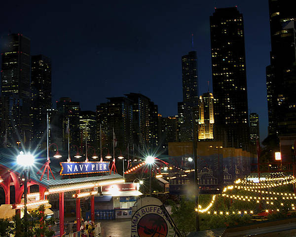 Night Poster featuring the photograph Navy Pier At Night by Sheryl Thomas