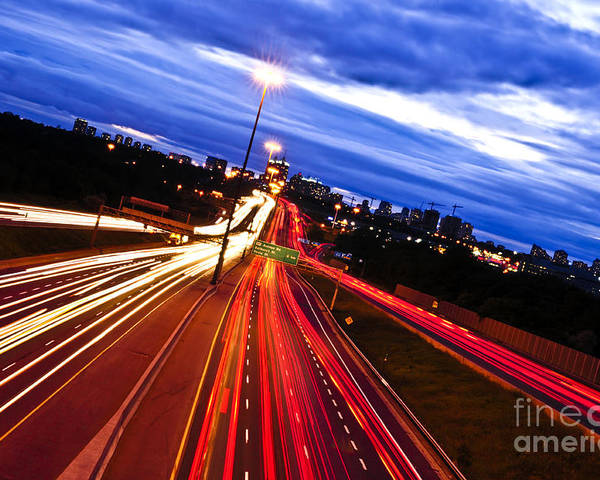 Traffic Poster featuring the photograph Night Traffic by Elena Elisseeva